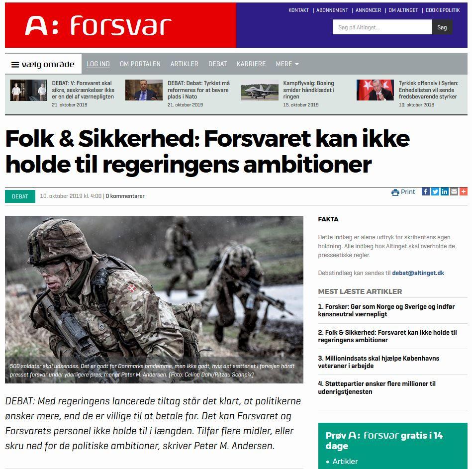 Folk & Sikkerhed: Forsvaret kan ikke holde til regeringens ambitioner