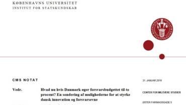 CMS Notat: Hvad nu hvis Danmark øger forsvarsbudgettet til to procent?