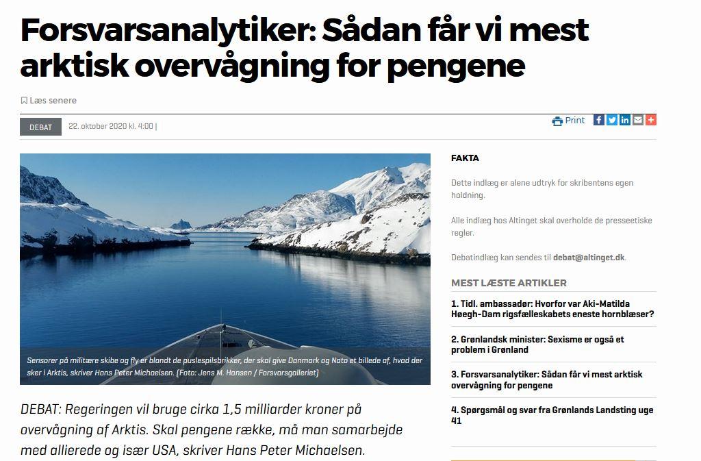 Debat: Sådan får vi mest arktisk overvågning for pengene